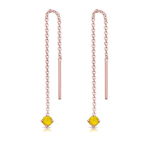 DTPsilver Pendientes Pequeños con Cadena y colgante con 3 mm Cristal Swarovski Elements - Plata de Ley 925 Plateado en Oro Rosa - Longitud 57 mm - Color: Ópalo Amarillo