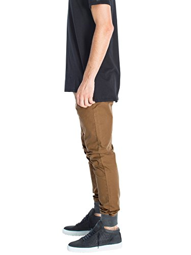 Italy Morn Men's Drop Crotch Jogger Khakis Chinos Casual Pants with Knit Cuffs L Camel