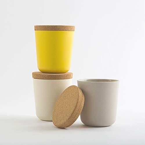 EKOBO Vorratsdosen-Set (Größe S), 3-teilig, H 9,5 cm, 240 ml, Lemon/Stone/White, Bambus-Faser/Kunstharz/Kork-Deckel luftdicht, für losen Tee, Gewürze, Salz, Zucker etc.