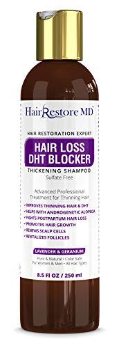 "Hair LOSS DHT BLOCKER SHAMPOO""Lavender & Geranium"", Biotin Hair Growth Thickening Caffeine Shampoo, Hair Loss Thinning and Fine Hair, Regrowth Thickening Products for Men & Women, Sulfate Free"
