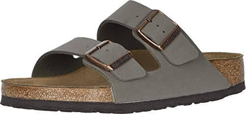 Birkenstock Arizona - Birkibuc (Unisex) Stone Birkibuc&Trade; 39 (US Men's 6-6.5, US Women's 8-8.5) Narrow