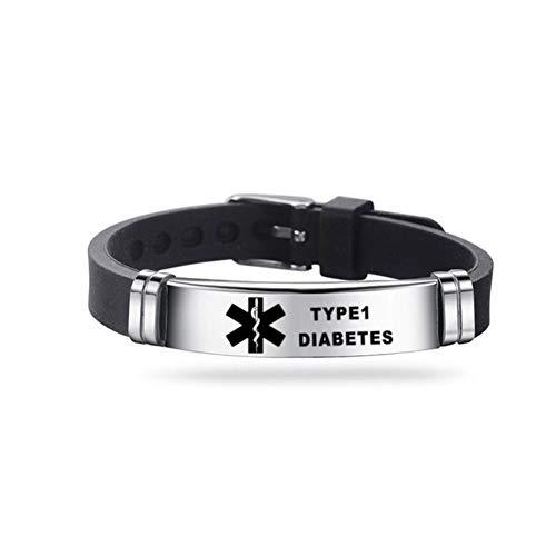 Pulsera identificativa de qianele de acero inoxidable y silicona, cómoda y ajustable, para hombres y mujeres, color negro Diapositivas tipo 1.