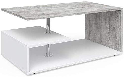 Vicco - Tavolino da salotto Guillermo, 90 x 50 cm, in legno, 4 colori a scelta (bianco cemento)