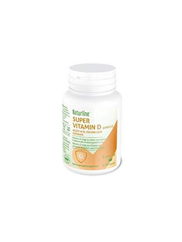 Naturline® Super Vitamin D3 2000 IU |120 Kapseln, 1 jeden zweiten Tag |Hohe Dosis in gut resorbierbare Form | Sonnen Vitamin | Unterstützt Knochen, Zähne, Muskel und das Immunsystem