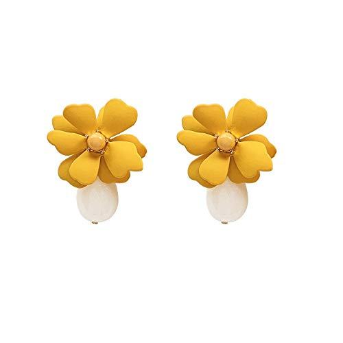 Xi-Link Aguja De Plata S925 Simplemente Montadas Flores Pendientes Girls Elegancia (Color : Yellow)