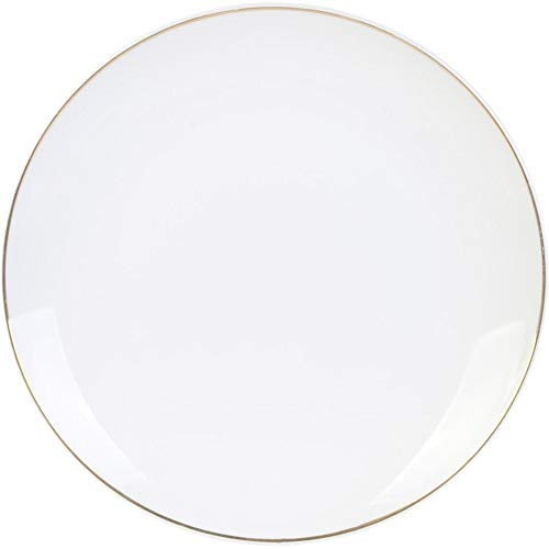 Home Deco Factory KA4570 - Plato llano redondo (porcelana, 20,3 x 2,4 cm), color blanco