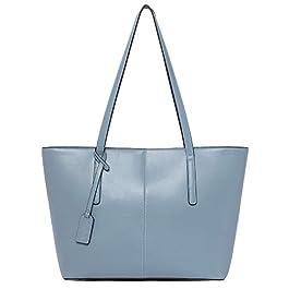 BOSTANTEN Sac à Main Cuir Femme Sac Porté épaule Sac Bandoulière Sac Cabas Tote Shopper Bleu Clair