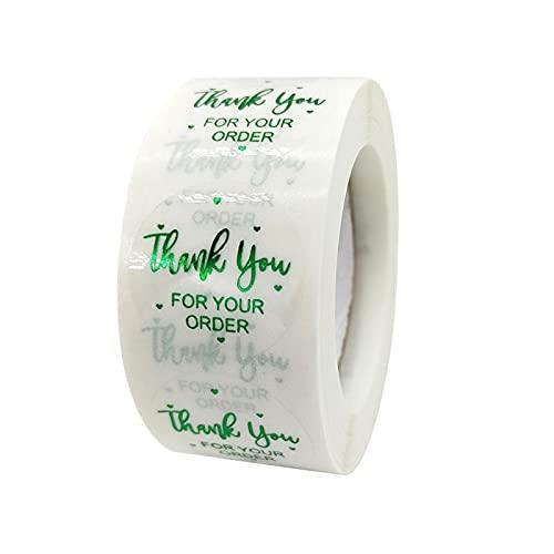 Klistermärke 500 st Clear Green Folie Tack för din beställning klistermärke för butik Småföretag Nätt presentkort Kuvert Tätning Etiketter Etikettklistermärke (Color : B)