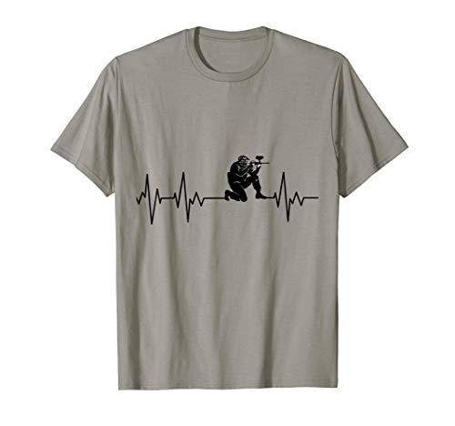 Paintball Softair Herzschlag EKG T-Shirt Hobby Paintballer