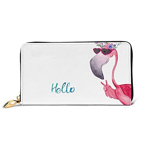 IUBBKI Hello Glasses Flamingo Print S - Monedero de piel para mujer, bolso de mano de piel de vacuno para tarjetas, organizador de dinero