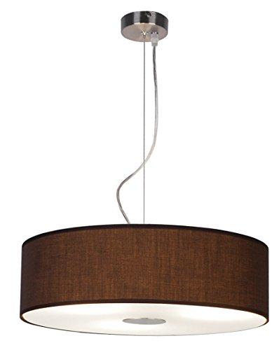 ledar Lemgo–Lámpara de techo 3x E27, acero, color marrón