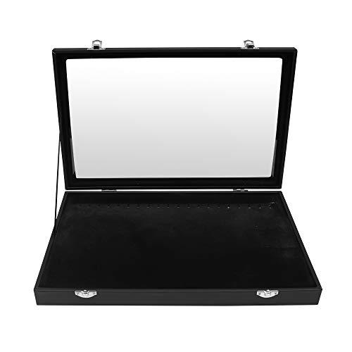 Kurtzy Organizador de Collares (Pack de 1) - Caja Joyero Organizador Terciopelo Tapa Transparente 35cm de Ancho x 24cm de Profundidad x 4,5cm de Alto - 20 Ganchos Bandeja Cadena paraTobillera, Braza