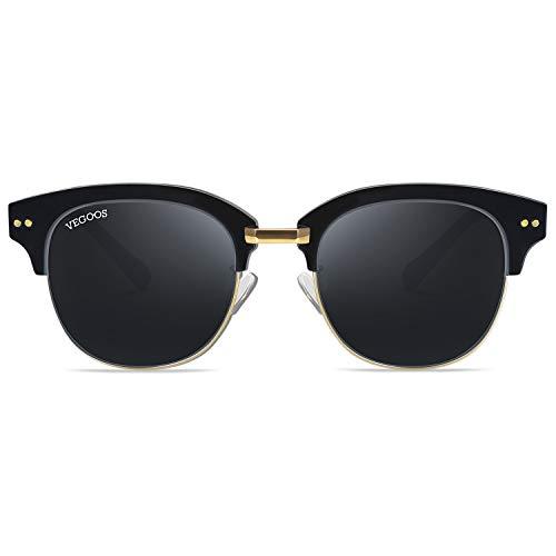 VEGOOS サングラス レディース 紫外線 UVカット カラーレンズ 小顔 クラシック サーモント型 偏光 眼鏡 ユニセックス 超軽量 旅行 運転用 ケース付き グレー