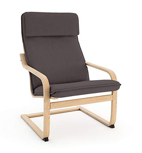 Vinylla Funda de repuesto para sillón compatible con IKEA Poäng (1 cojín, algodón, color gris oscuro)