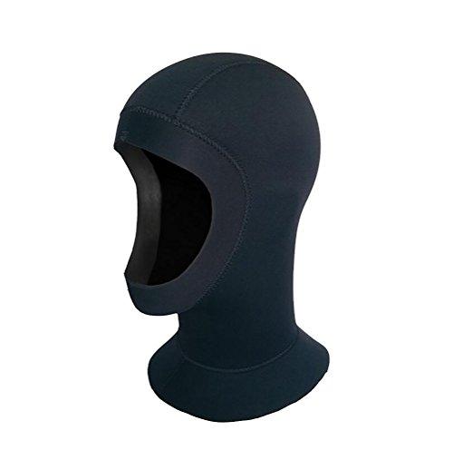Unisex Erwachsene 5mm Neoprenhaube Tauchhaub Kopfhaub Schnorcheln DIY Edge (head circumference 56-58cm, schwarz)
