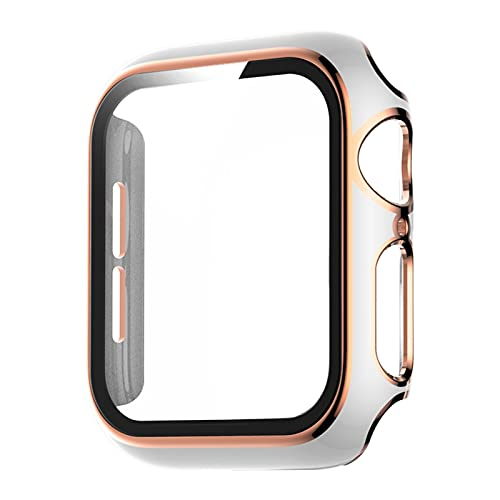 HGGFA Apple Watch Series 6 SE 5 4 3 2カバーPCバンパー+ガラスフィルム40mm 44mm 38mm 42mmフレーム用スクリーンプロテクターハードケース (Color : White Rose gold, Dial Diameter : 44mm)