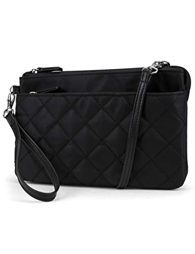Mundi Brady Anti Theft Womens Cell Phone Crossoby Bag RFID Purse Wallet (Black Quilted Nylon)