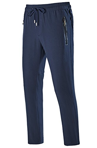 Gopune Men's Outdoor Quick-Dry Lightweight Waterproof Hiking Mountain Pants (Blue,L)