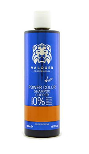 Valquer Profesional Champú Power Color cabellos teñidos. Vegano Y Sin Sulfatos (Cobre). Potenciador color cabello - 400 ml.