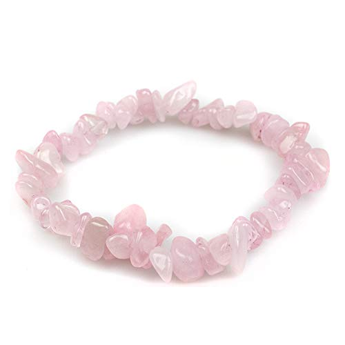 Myga RY1453 Rose Quartz Chip Bracelet - Chip Bracelet with Gift Bag and Natural Wooden Box - Unconditional Love and Purity