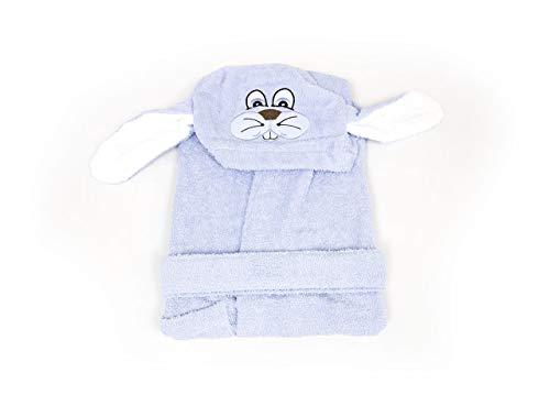 BIANCHERIAWEB Accappatoio per Bambini con Cappuccio Modello Coniglio Azzurro 3-4anni Azzurro