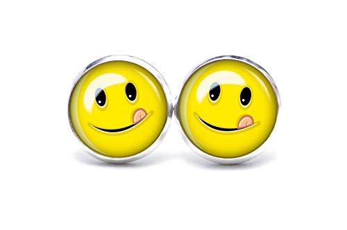 Ohrstecker/Ohrhänger Zunge zeigender Smiley - Größe wählbar