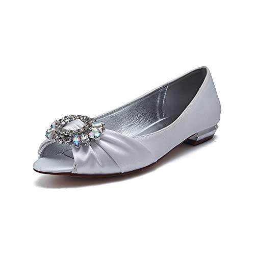 MNVOA Zapatos De Novia De Boda De Diamantes De Imitación De Satén...