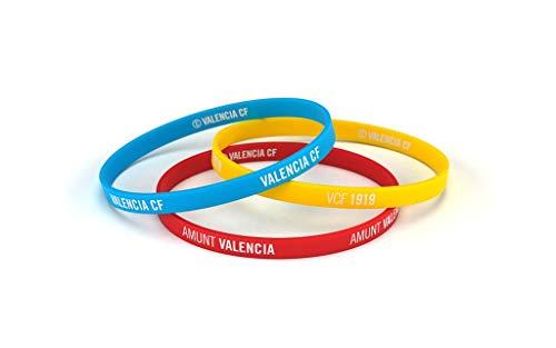 Valencia Club de Fútbol Pulsera Classic Tricolor Escudo Junior para Mujer y Niño | Pulsera Valencia de Silicona | Apoya al Valencia CF con un Producto Oficial | VCF