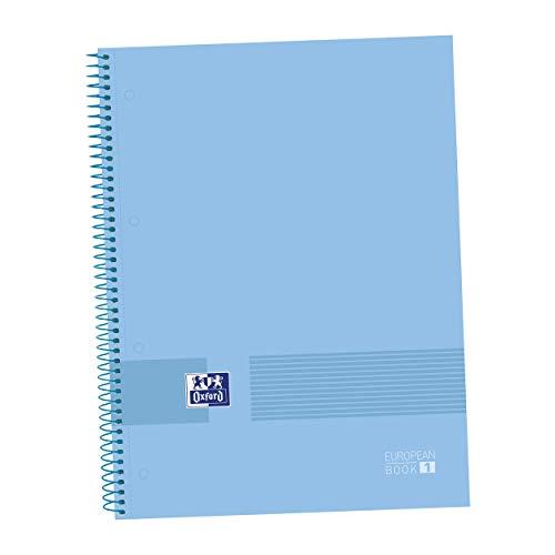 Oxford - Cuaderno microperforado A4, 235 x 297 mm, Europeanbook1, tapa dura, cuadrícula 5 x 5, 80 hojas, 90 grs, color periwinkle blue