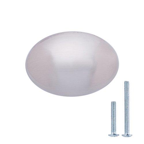Amazon Basics - Pomo de armario, con forma de balón de rugby, 3,59 cm de diámetro, níquel satinado - paquete de 25