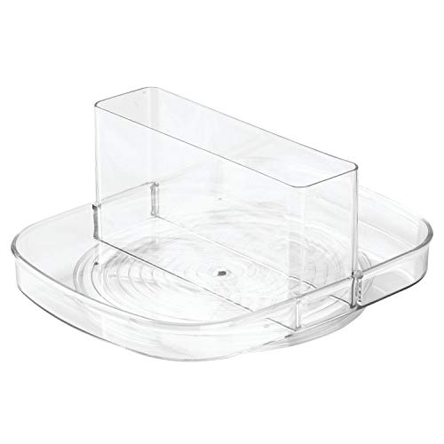 iDesign Linus Plastic Lazy Susan Napkin and Condiments Turntable Holder for Kitchen Countertops and Dining Tables Clear