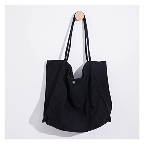 bolsa de lona Bolsas de supermercado reutilizables de corduroy con bolsa de compras de la moda de bolsillo para el trabajo de la playa de la playa Bolso de viaje otoño Suministros para estudiantes