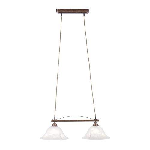Deckenleuchte Alabaster-Dekor Glas, Landhaus Romantik antik rustikal Edel-Rost, E14 LED-fähig...