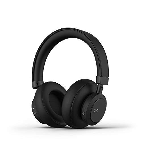 JAYS Active Noise Cancelling (ANC) Kopfhörer Bluetooth - q-Seven - Schwarz - Headphones Kabellos Over-Ear Wireless mit 30h Akkulaufzeit & Mikrofon