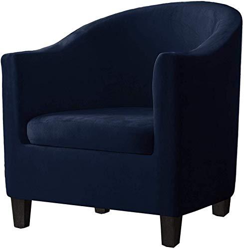 FDQNDXF Stuhl Schonbezüge 2 Stück Samt Wanne Stuhlhussen mit Kissenbezug, High Stretch Stilvolle Möbel Wanne Stuhl Schonbezug Möbelschutzbezug Sofa Schonbezug für Wanne Stuhl (Navy)