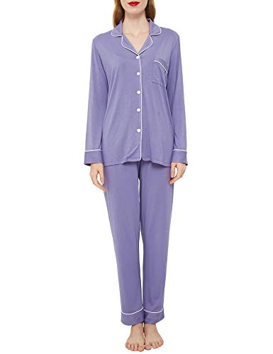 Innersy Pajama Set Long Sleeve Notch Collar Soft Nightwear Two Piece Pj Sets XS-2XL(Medium, Lavender Violet)