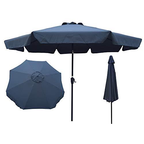 HIAO 10FT(3m) Outdoor Patio Umbrella with Flap Terrace Umbrella with Push-Button Tilt 8pcs Ribs Pool Umbrella Crank System for Deck Pool
