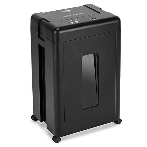 WOLVERINE Trituradora de papel de 15 hojas P5 de alta seguridad con microcorte para papel pesado, CD, hoja de manganeso ultra silenciosa, cubo de basura extraíble de 30 litros SD9520 (negro)