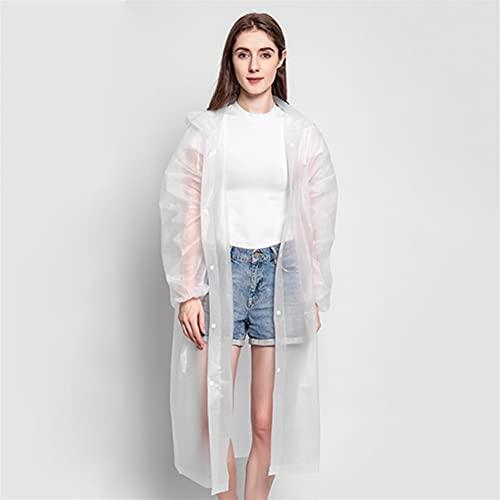 SASAU Lluvia Abrigo Moda Mujer Hombre Impermeable Espesado Impermeable Lluvia Poncho Abrigo Adulto Claro Transparente Camping Sudadera con Capucha Traje de Lluvia (Color : 2)