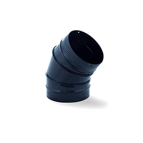 Codo de sectores 45º, vitrificado para chimeneas y estufas de leña y pellet, cualquier diámetro, autoconectables. (130 mm)
