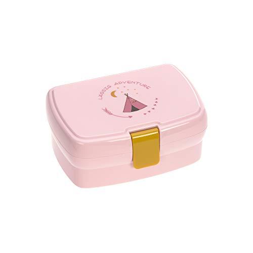 LÄSSIG Kinder Lunchbox Brotdose mit herausnehmbarer Unterteilung, BPA-frei/Adventure Tipi, rosa