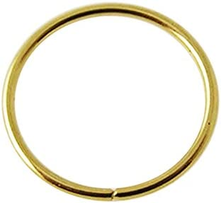 14K Yellow Gold 22 Gauge 8MM Diameter Seamless Continuous Open Hoop Nose Piercing Ring Jewelry product image