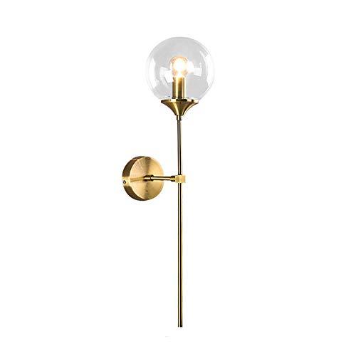 MZStech Aplique montado en la pared industrial vintage, globo de cristal Claro con lámpara de pared dorada de brazo largo, luz de pared dorada para la cabecera (Claro)