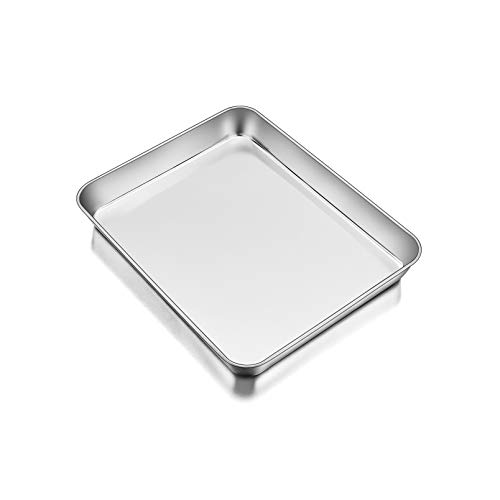 TeamFar Lasagna Pan, 10.5'' x 8'' x 2'', Stainless Steel Small Rectangular Baking Roasting Cake Casserole Brownie Pan, Non-toxic & Sturdy, Brushed Surface & Deep Side, Dishwasher Safe
