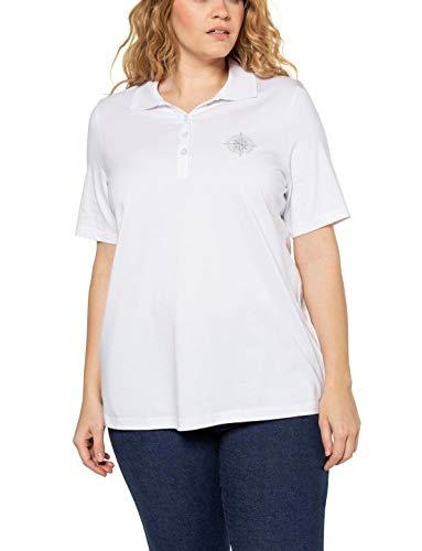 Ulla Popken Damen große Größen Poloshirt mit Stickerei in Pima Cotton, Classic T-Shirt, Weiß (Weiß 72709620), 46-48
