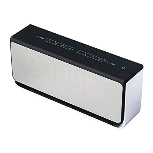 qiyanMulti Functional Fashion Creative Design Wireless Bluetooth Speaker Led Light Alarm Clock con Pantalla de Espejo de Radio FM Altavoces portátiles