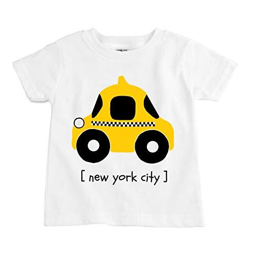 The Spunky Stork Toddler I Love NYC Taxi Organic New York City Boys Girls Tshirt (2T) White