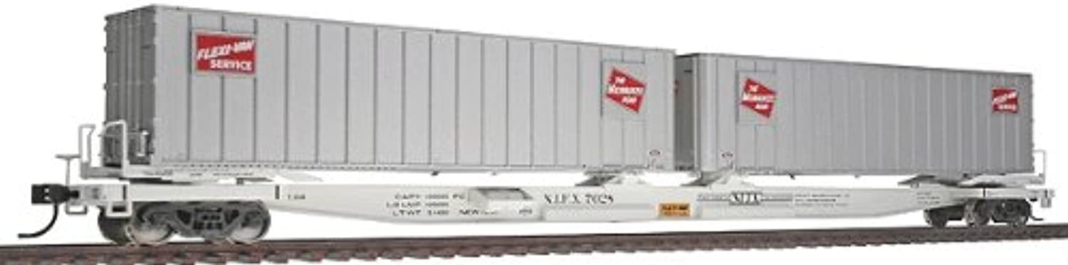 Walthers gold Line(TM) HO Scale Mark III Flexi-Van Flatcar with Two Trailers Ready to Run Milwaukee Road  7028