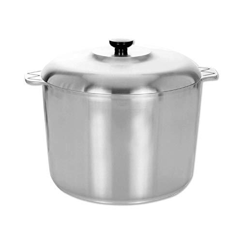 Cajun 14 Quart Stock Pot with Lid - Oven Safe Aluminum Soup Pot - Nickel-Free Large Pot with Steamer