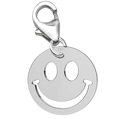 Damen Charm Anhänger für Armbänder echt 925 Sterling Silber Bettelarmband Geschenkbox Karabiner Mädchen Smiley Smilie K534o +V2